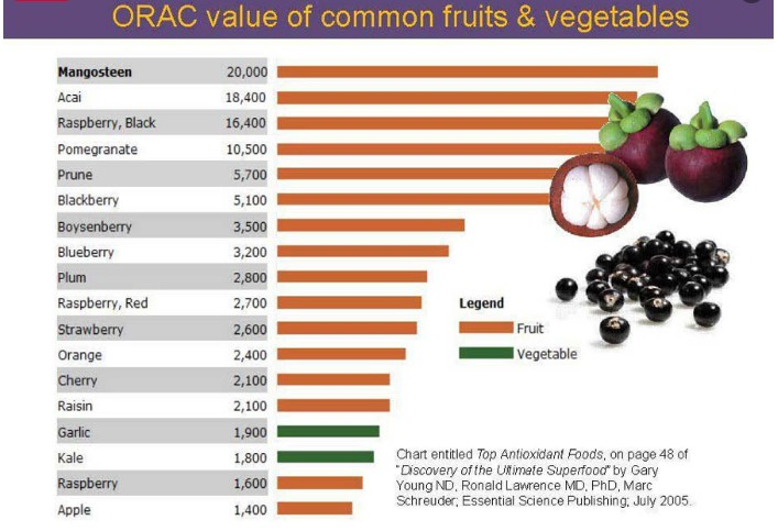 Orac Value of Common Fruits and Vegetables